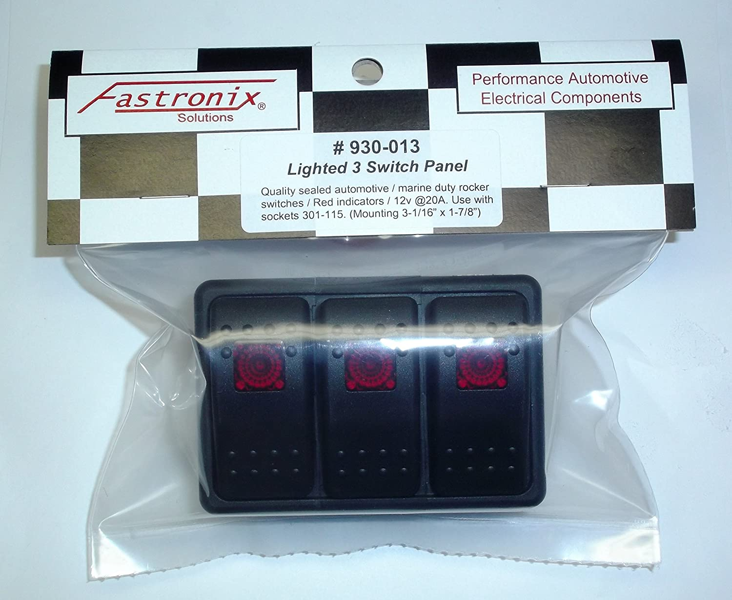 Fastronix Lighted 3 Rocker Switch Panel Auto Marine New Wire Products Toggle Switches Access Spst Green Automotive