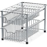 Simple Houseware Stackable 2 Tier Sliding Basket Organizer Drawer, Chrome