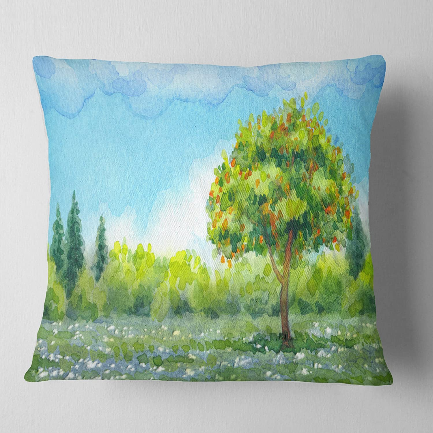 Designart CU7314-26-26 Tree in Spring' Watercolor Painting Landscape Printed Cushion Cover for Living Room, Sofa Throw Pillow, 26' x 26'