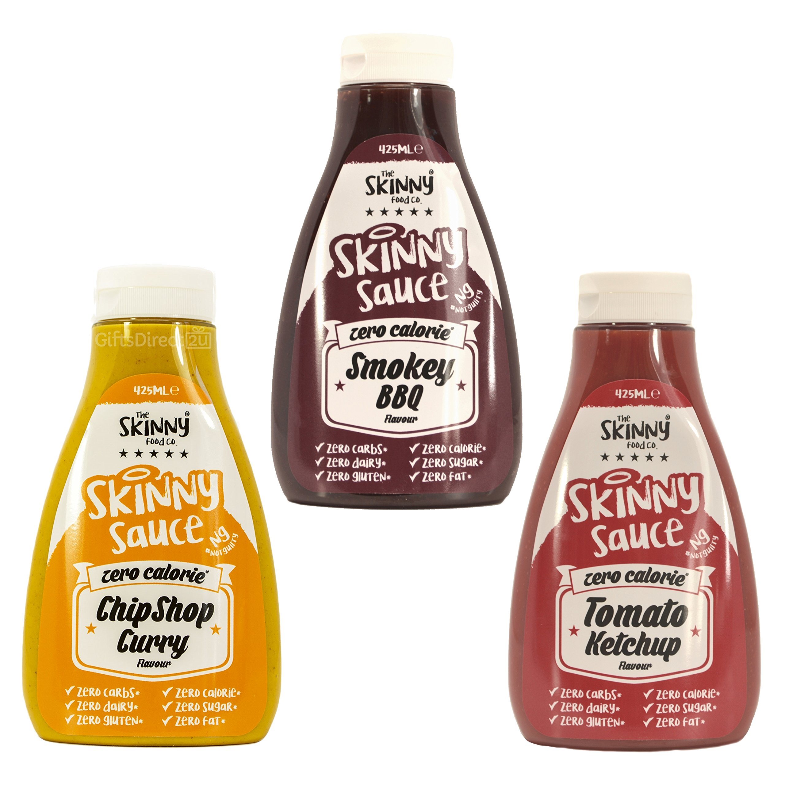 Skinny Foods Curry Ketchup BBQ Sauce Set of 3 SW Condiment Sugar Free Zero Calories
