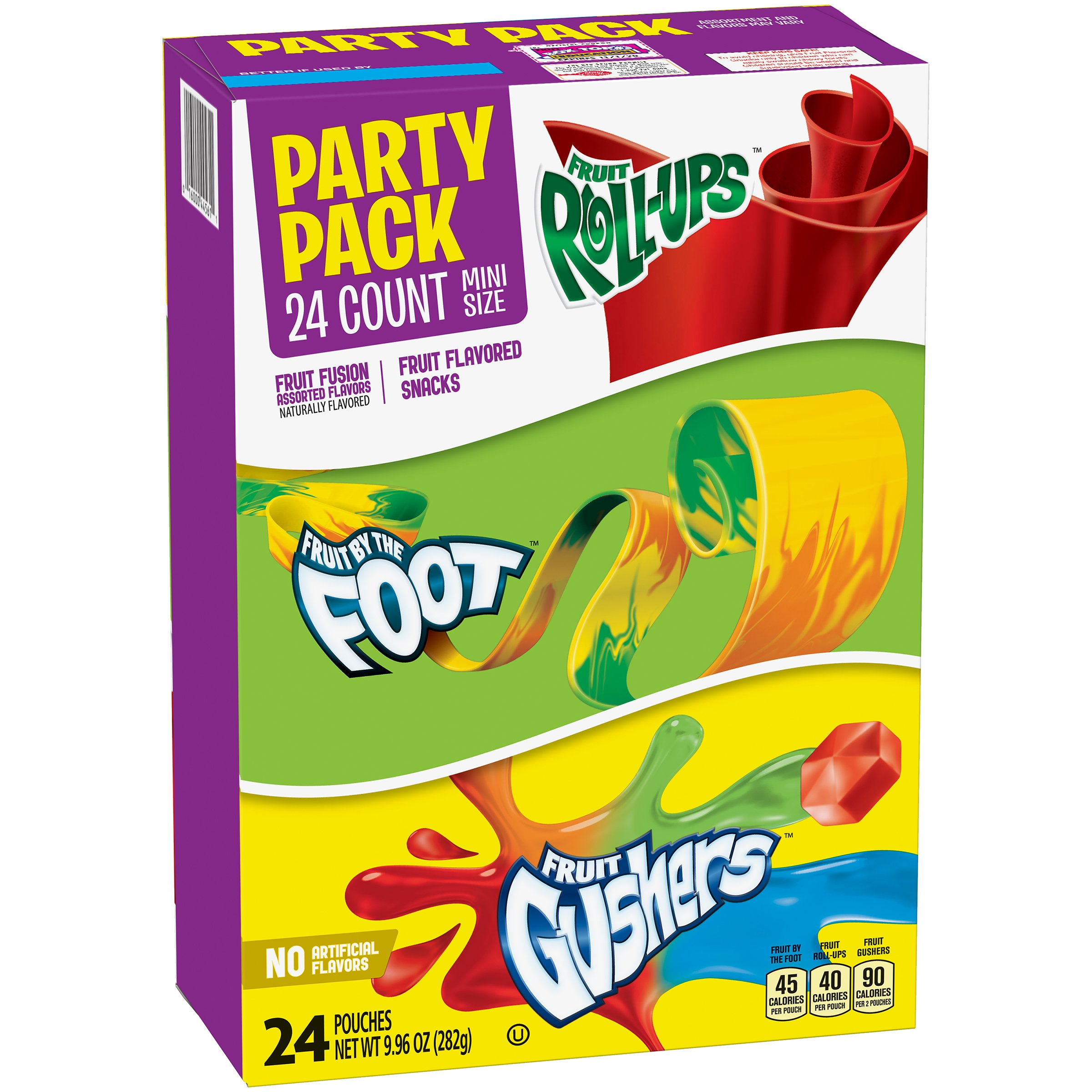 Betty Crocker Party Pack Variety Pack of Mini Size Fruit Roll-Ups Fruit By The Foot and Gushers 24 ct Pouches by Betty Crocker