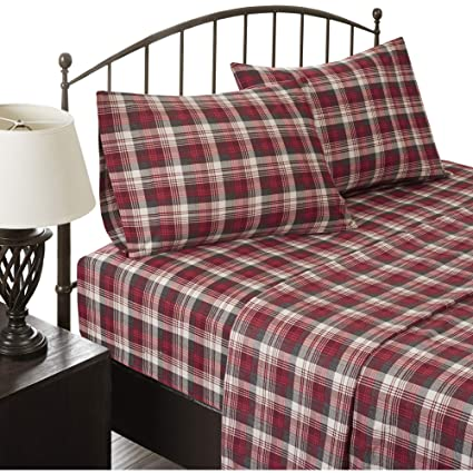 Woolrich Flannel California King Bed Sheets, Casual Lodge/Cabin Bed Sheet,  Red Plaid