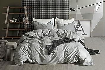 Xiongfeng Leinen Bettwäsche 135x200 Cm Mit Baumwolle Bettwäscheset  Kissenbezüge 80x80 Cm Natur Vintage Grau