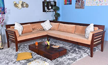 Woodlab Furniture Sheesham Wood 5 Seater L Shape Corner Sofa Set For Home Brown Amazon In Home Kitchen