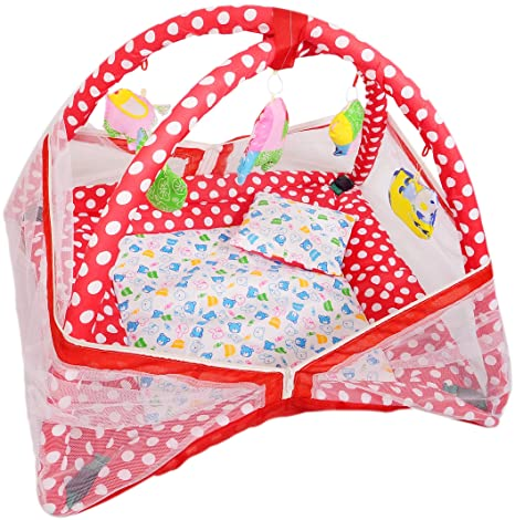 Vebeto Baby Kick and Play Gym with Mosquito Net and Baby Bedding Set (Red)