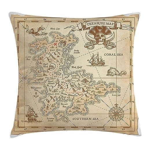 fringcoook Funda de cojín con diseño de mapa antiguo del ...