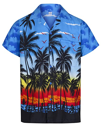 0b5dff79f11 Mens Hawaiian Shirt Short Sleeve STAG Beach Holiday Palm Tree Fancy Dress  Hawaii - All Sizes  Amazon.co.uk  Clothing