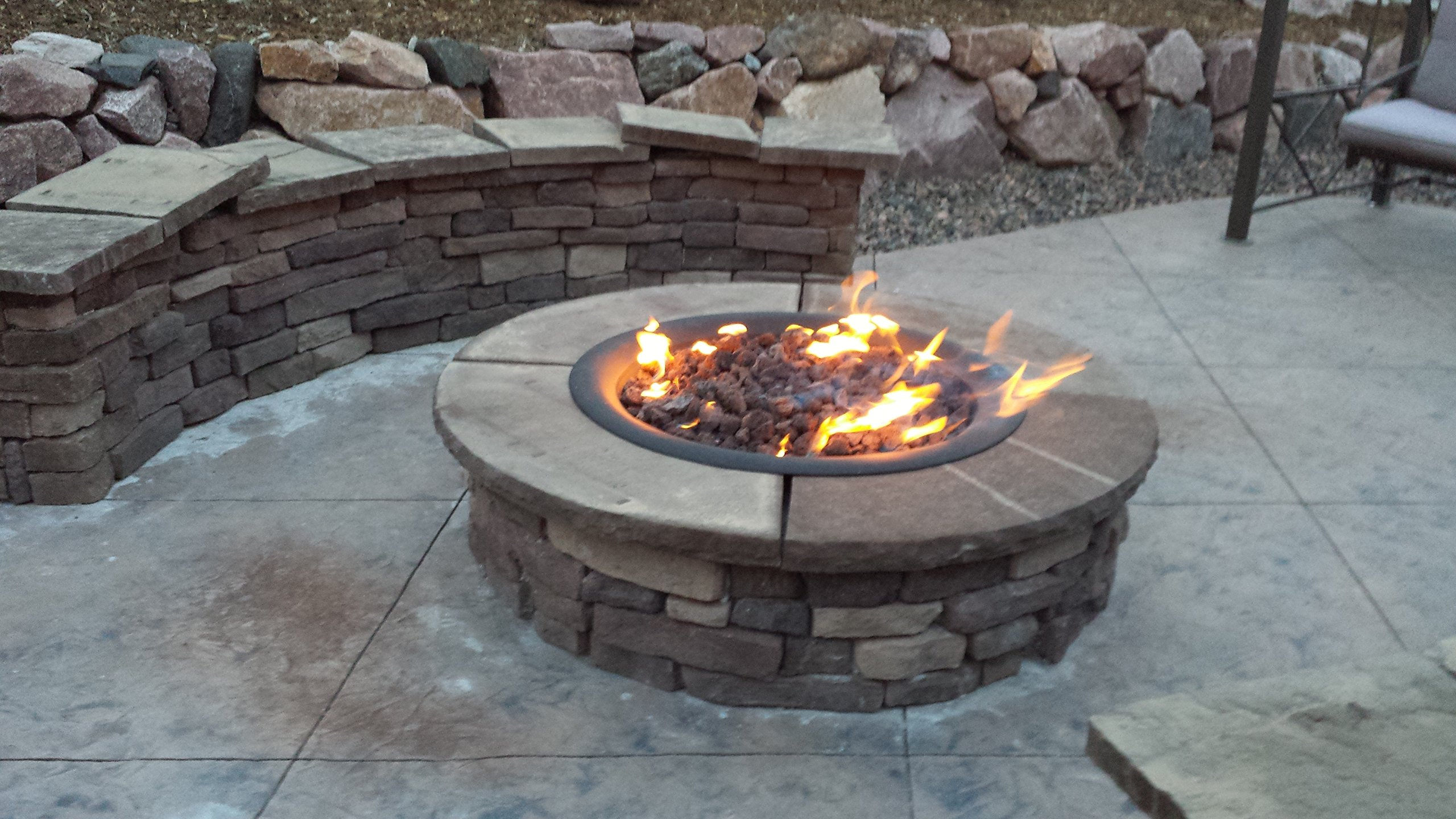 DIY Create/ Convert Existing Wood Fire Pit to Propane 36'' Double Fire Ring Complete Deluxe Fire Pit Kit; 316 Stainless Double Ring Burner & Mounting Kit, 12' Hose & Fittings w/ Key Valve On/ Off and Intensity Control So You Dont Have to See the Tank; FR36