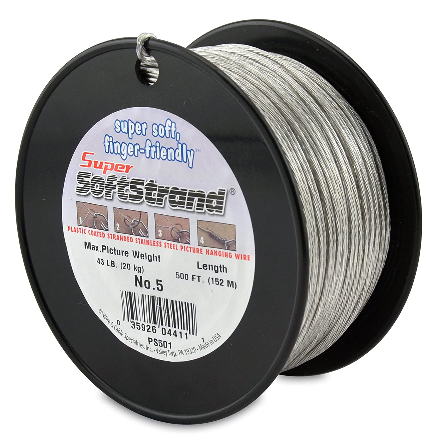 Amazon.com: SuperSoftstrand 500-Feet Picture Wire Vinyl Coated ...