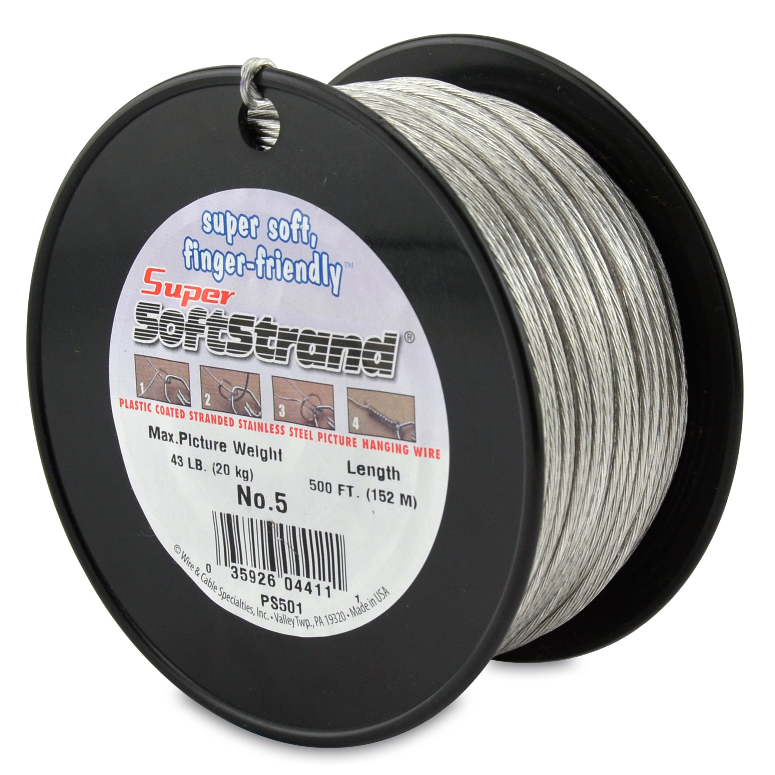 SuperSoftstrand 500-Feet Picture Wire Vinyl Coated Stranded Stainless Steel by Wire & Cable Specialties (Image #1)