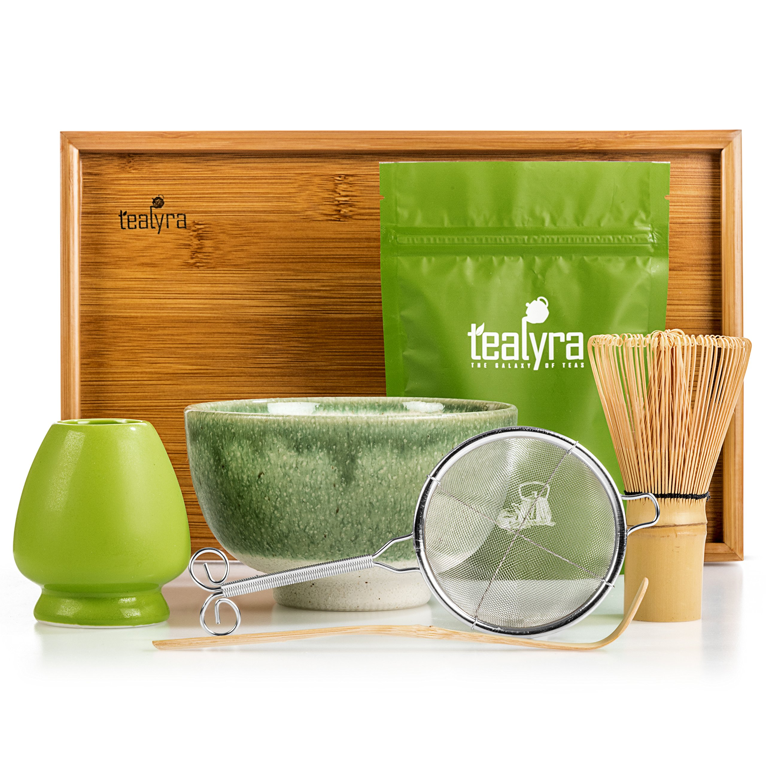 Tealyra - Matcha Kit - Connoisseur Ceremony Start Up Set - Premium Matcha Tea Powder - Japanese Made Green Bowl - Bamboo Whisk Scoop and Tray - Holder - Sifter by Tealyra