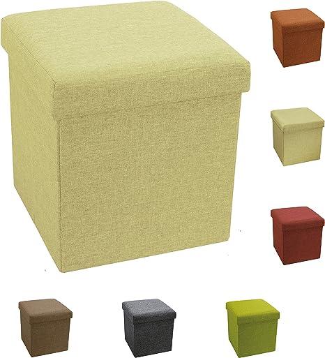 Tata Home Puf Puff Contenedor Caja Cubo reposapiés Taburete de poliéster tamaño 38 x 38 x 38 cm Color Beige: Amazon.es: Hogar