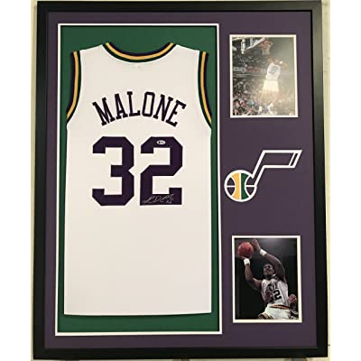 check out 8914a 8f405 Karl Malone Autographed Custom Framed Utah Jazz Jersey ...