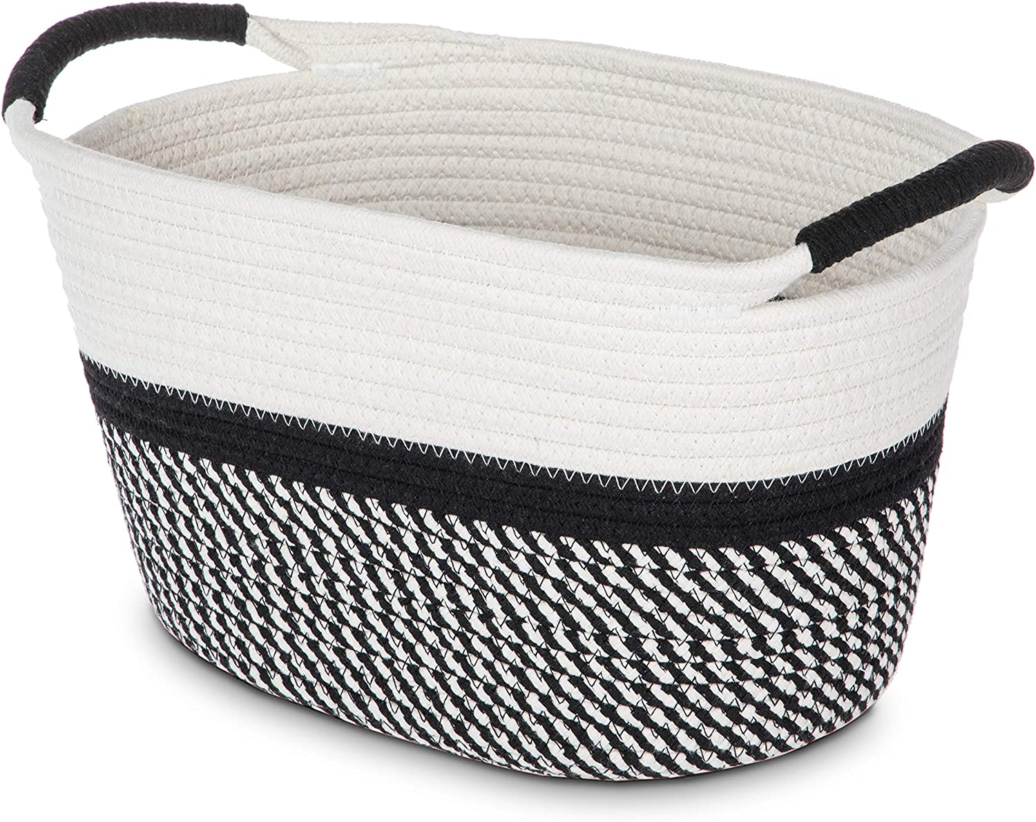 """Home Zone Living Woven Basket for Home Storage with 2 Cotton Rope Handles, 100% Cotton, 13.40"""" x 10.25"""" x 7.90"""""""