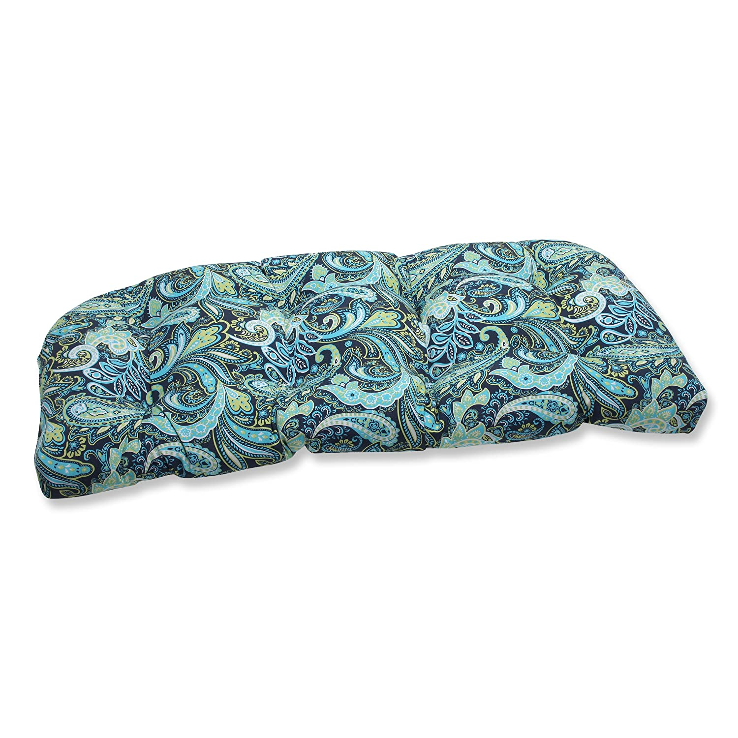 Pillow Perfect Outdoor/Indoor Pretty Paisley Navy Wicker Loveseat Cushion Inc. 543819