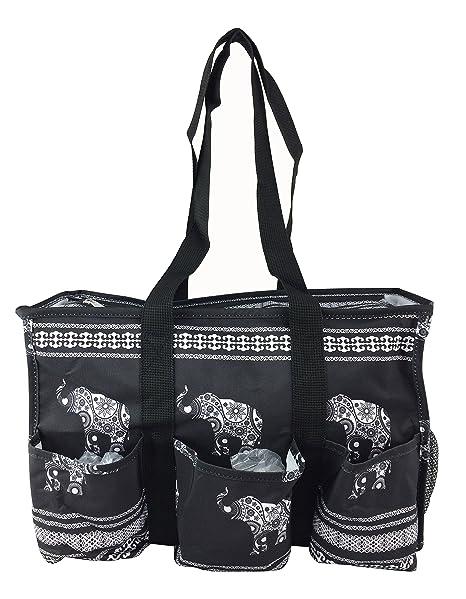 b46156cc8df8 7-Pocket Tote Bag With Zipper (Black Elephant)