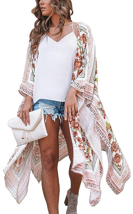 Hibluco Women's Floral Kimono Cardigan Sheer Tops Loose Blouse Cover Ups best kimono tops