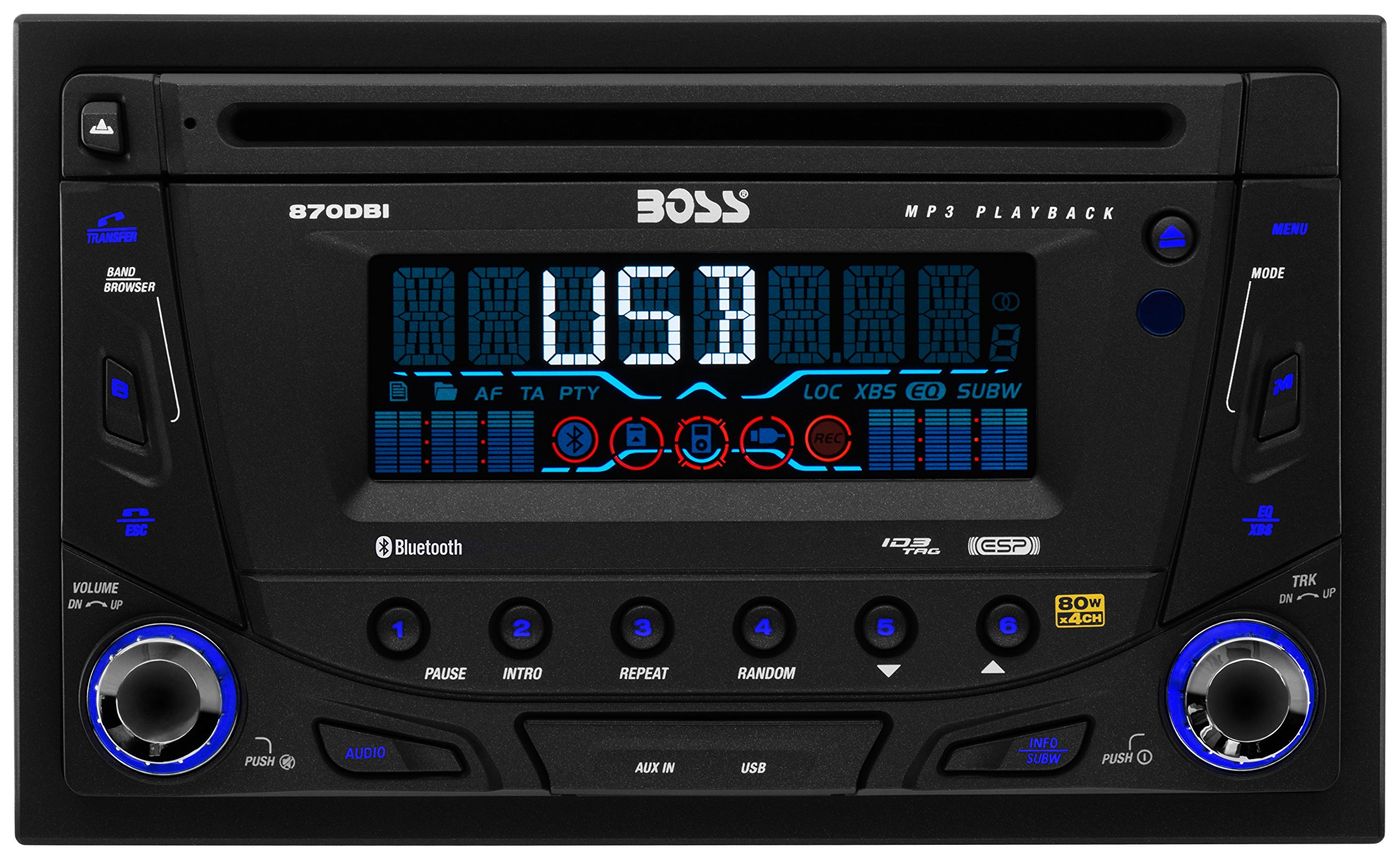 BOSS AUDIO 870DBI Double-DIN CD/MP3 Player Receiver, Bluetooth, Detachable Front Panel, Wireless Remote by BOSS Audio