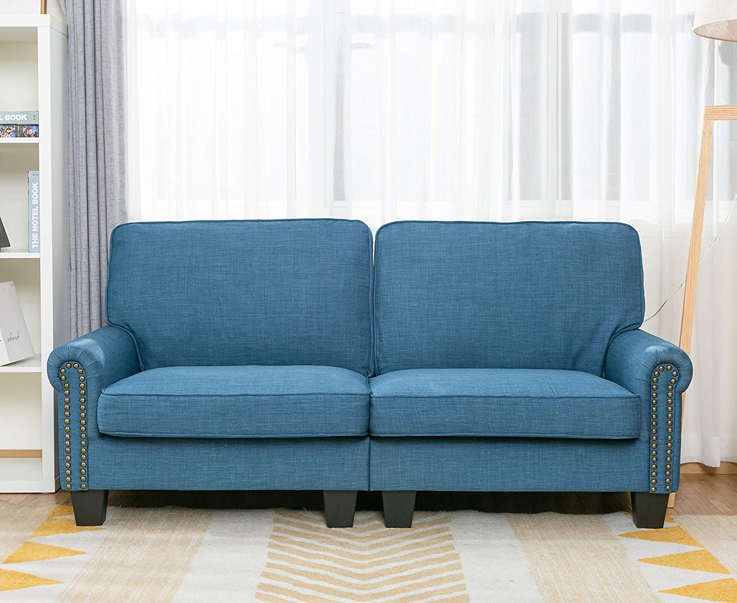 Sofa loveseat Soft and Easily Assemble Couch Blue Upholstered,by LifeFair