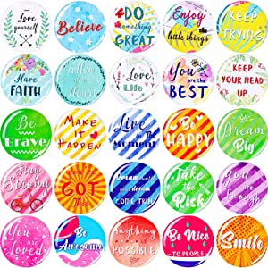 25 Pieces Inspirational Refrigerator Magnets Motivational Quote Magnets Multicolored Round Fridge Magnets for Fridge Classroom Whiteboard Locker Supplies