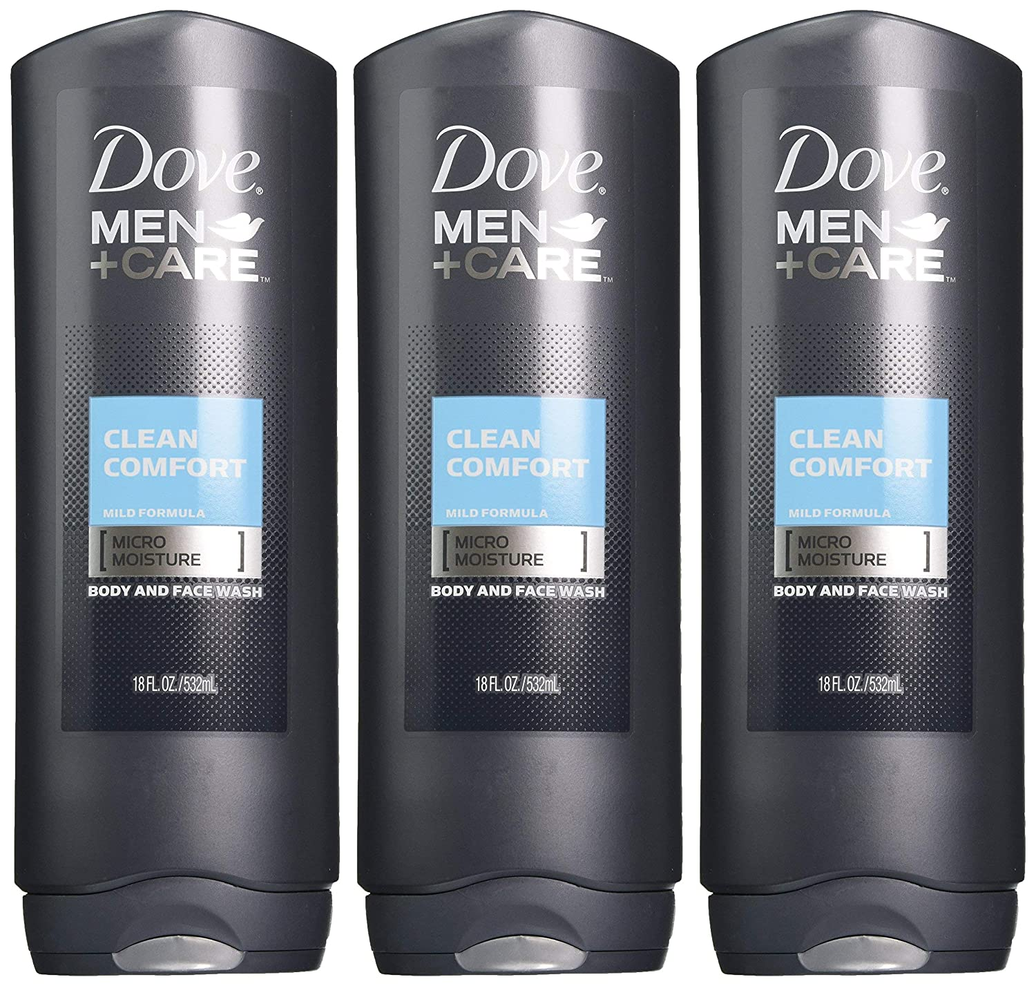 Dove Men+Care Body Wash, Clean Comfort 18 Fl Oz (Pack of 3)