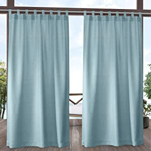 Exclusive Home Curtains Biscayne Indoor/Outdoor Two Tone Textured Tab Top Curtain Panels, 54x96, Pool Blue