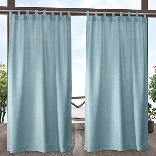 Exclusive Home Curtains Biscayne Indoor Outdoor Two Tone Textured Tab Top Curtain Panels, 54×120, Pool Blue