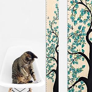 Growth Chart Art | Wooden Growth Chart Girls | Measuring Kids Height Wall Décor | Flower Growth Chart Ruler | Tree of Life Blue