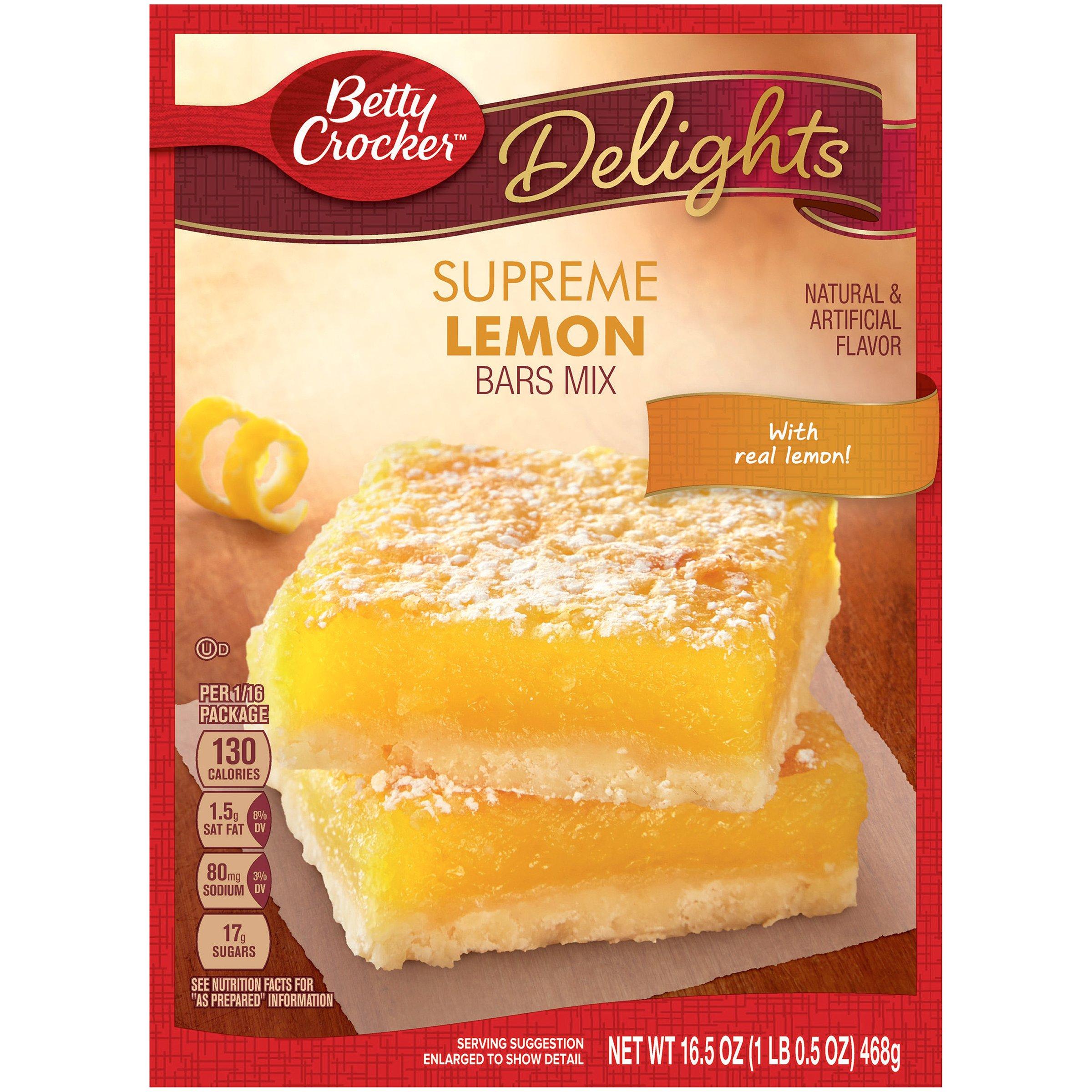 Betty Crocker Delights, Supreme Lemon Bars Baking Mix, 16.5 Oz Box (Pack of 12)