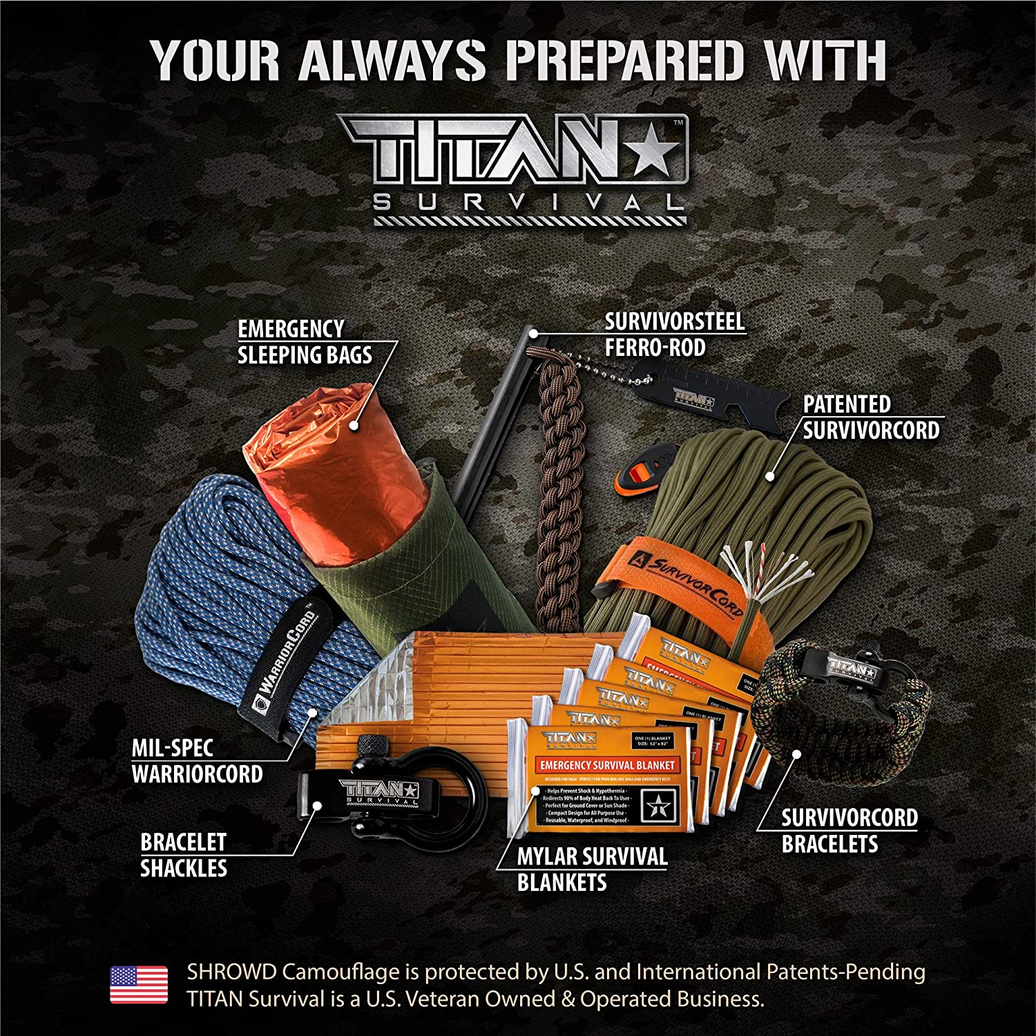 """Perfect for Camping Hiking Titan 6/"""" Tactical Paracord Keychains or Military Use Hunting Components are Built to Function and Built to Last. Made with SurvivorCord EDC"""