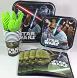 BashBox Star Wars Birthday Party Supplies Pack Including Cake & Lunch Plates, Cutlery, Cups & Napkins for 8 Guests
