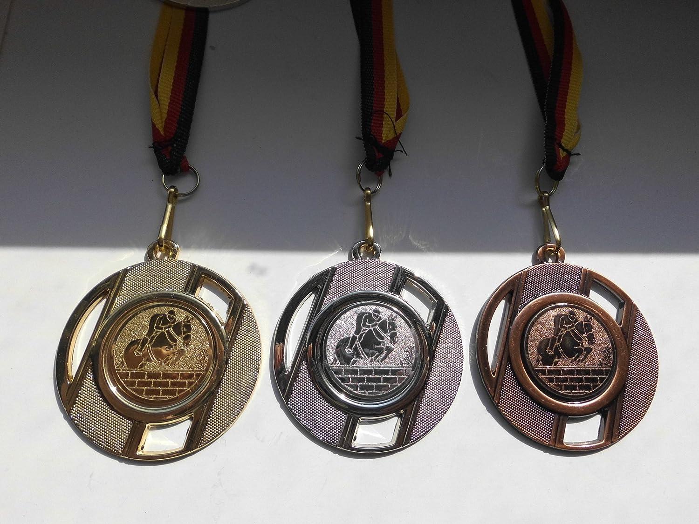 Alu Emblem 25mm aus Metall 50mm Gold - Dressur - Gold Fanshop L/ünen 20 St/ück Medaillen Pferde Reiten Medaillen Band Pferd - inkl e257