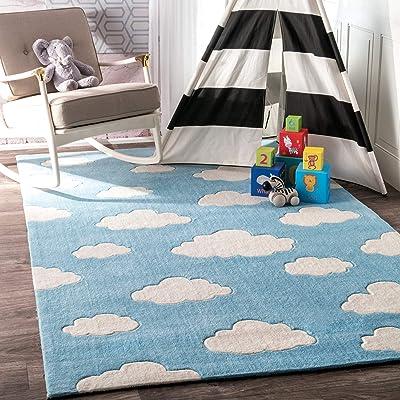 nuLOOM Sachiko Cloudy Kids Rug, 6' x 9', Blue: Kitchen & Dining