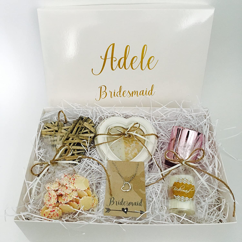 Countdown & Celebrate Personalised Bridesmaid Gift Box Hamper Wedding Thank You Shabby Chic