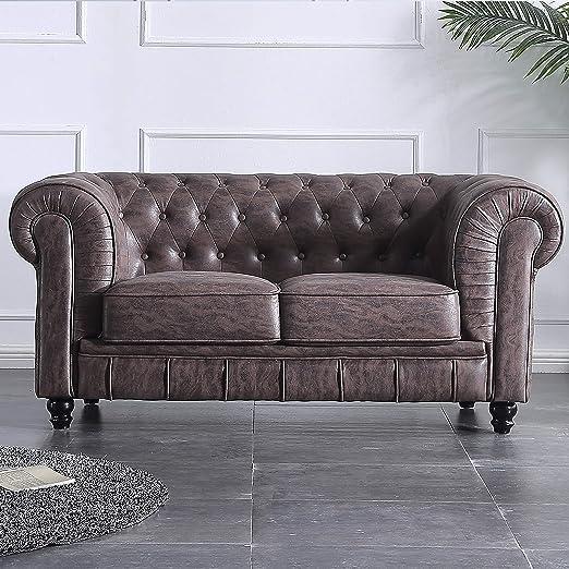 Adec - Chesterfield, Sofa de Dos plazas, Sillon Descanso 2 Personas Acabado en capitone Color Chocolate Vintage, Medidas: 166 cm (Largo) x 84 cm ...