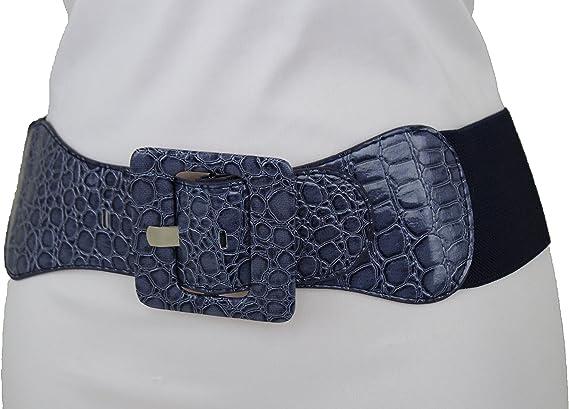 Women Fashion Stretch Belt Silver Elastic Waistband Hip Waist Square Buckle S M