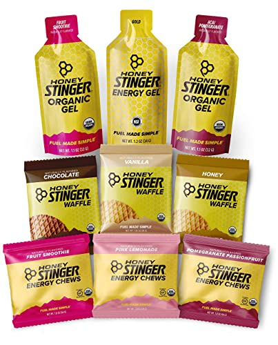 Honey Stinger Training Kit 9 Count Plus Sticker Energy Source for Any Activity 3 Organic Waffles, 3 Packs of Energy Chews 3 Energy Gels