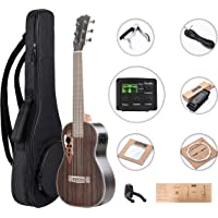 Left Handed - Caramel 6 Strings CB904GL Ebony Acoustic Electric Ukulele Guitalele with Truss Rod with E-A-D-G-B-E Strings, Padded Gig Bag, Strap and EQ cable