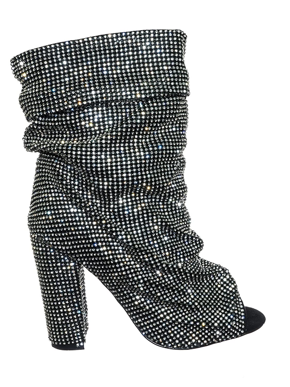 Aquapillar Women's Rhinestone Crystal Peep Toe Block Heel B07DXFQ976 High Ankle Slouch Bootie B07DXFQ976 Heel 8 B(M) US Black 5d061b