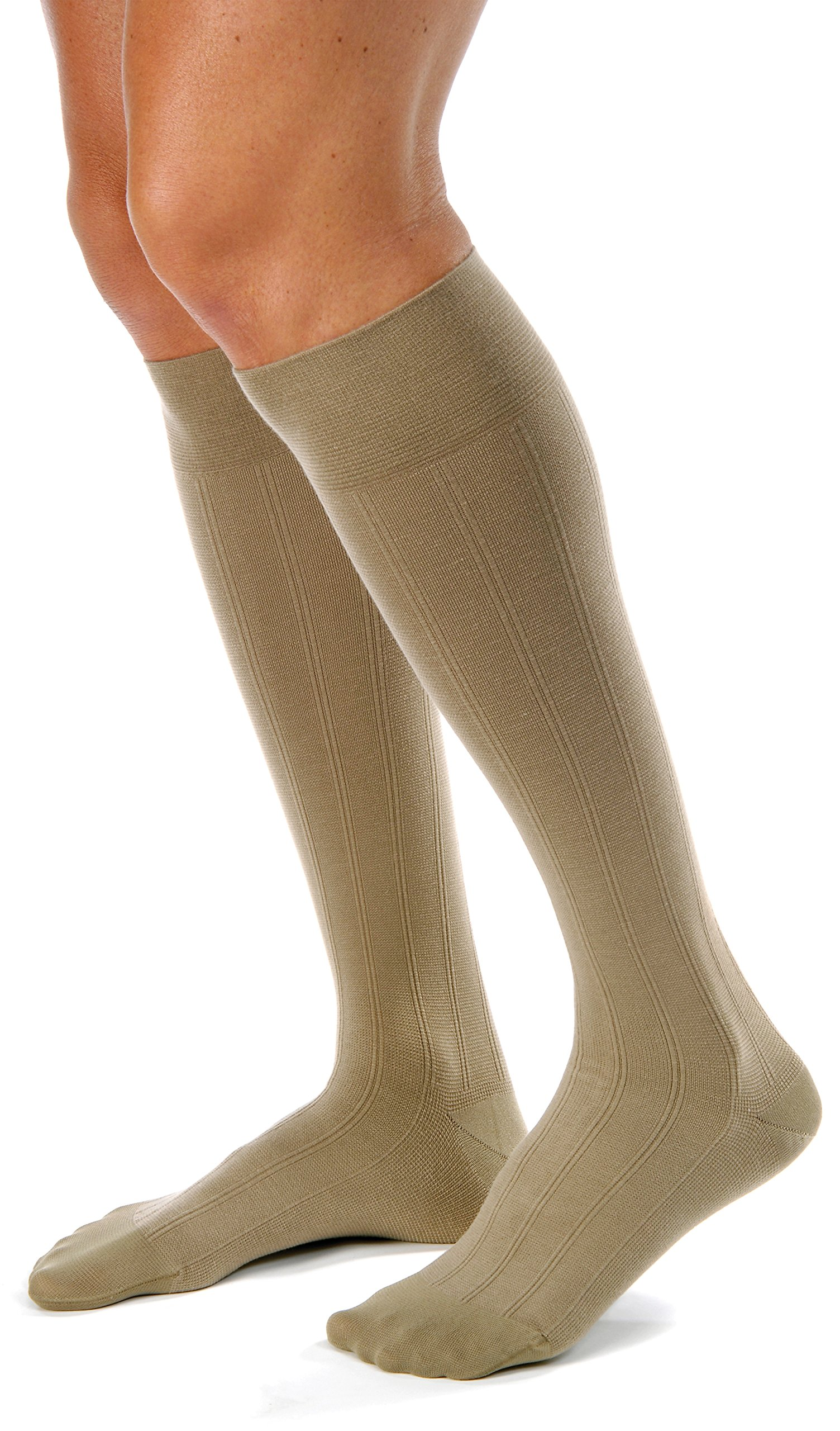 BSN Medical 113125 JOBST Men's Casual Socks with Closed Toe, Knee High, 20-30 mmHg, Medium, Khaki