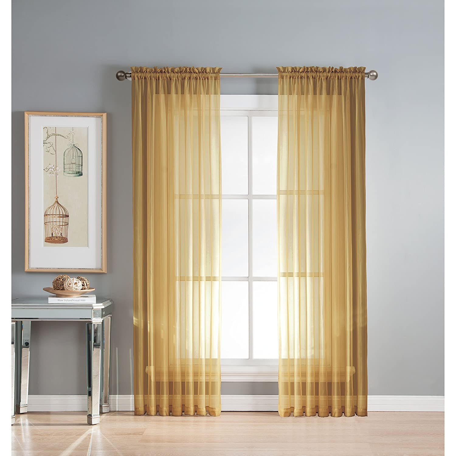 Window Elements Diamond Sheer Voile Extra Wide 112 x 84 in. Rod Pocket Curtain Panel Pair, Aqua Creative Home Ideas YMC003080