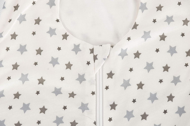 tejido Tencel color blanco y gris multicolor multicolor Talla:60 cm Tr/äumeland dise/ño de estrellas Saco de dormir de verano