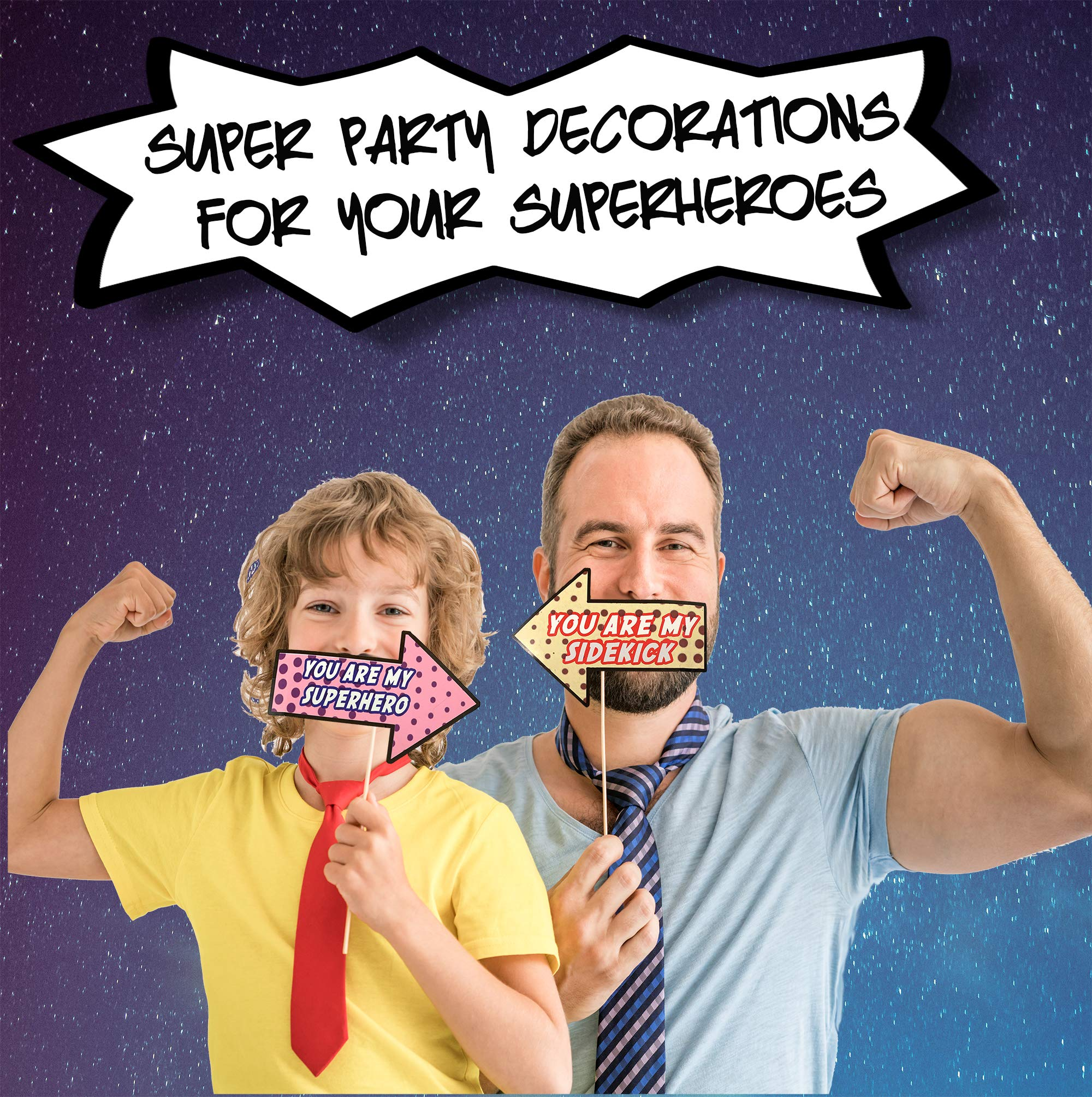 Superhero Comics Photo Booth Props – Ultimate Comic superhero Decorations Set for Selfie & Photo Booth Pics – Colorful Superhero Props and Masks– 35 Super Hero Party Supplies Set by Scapa Pro