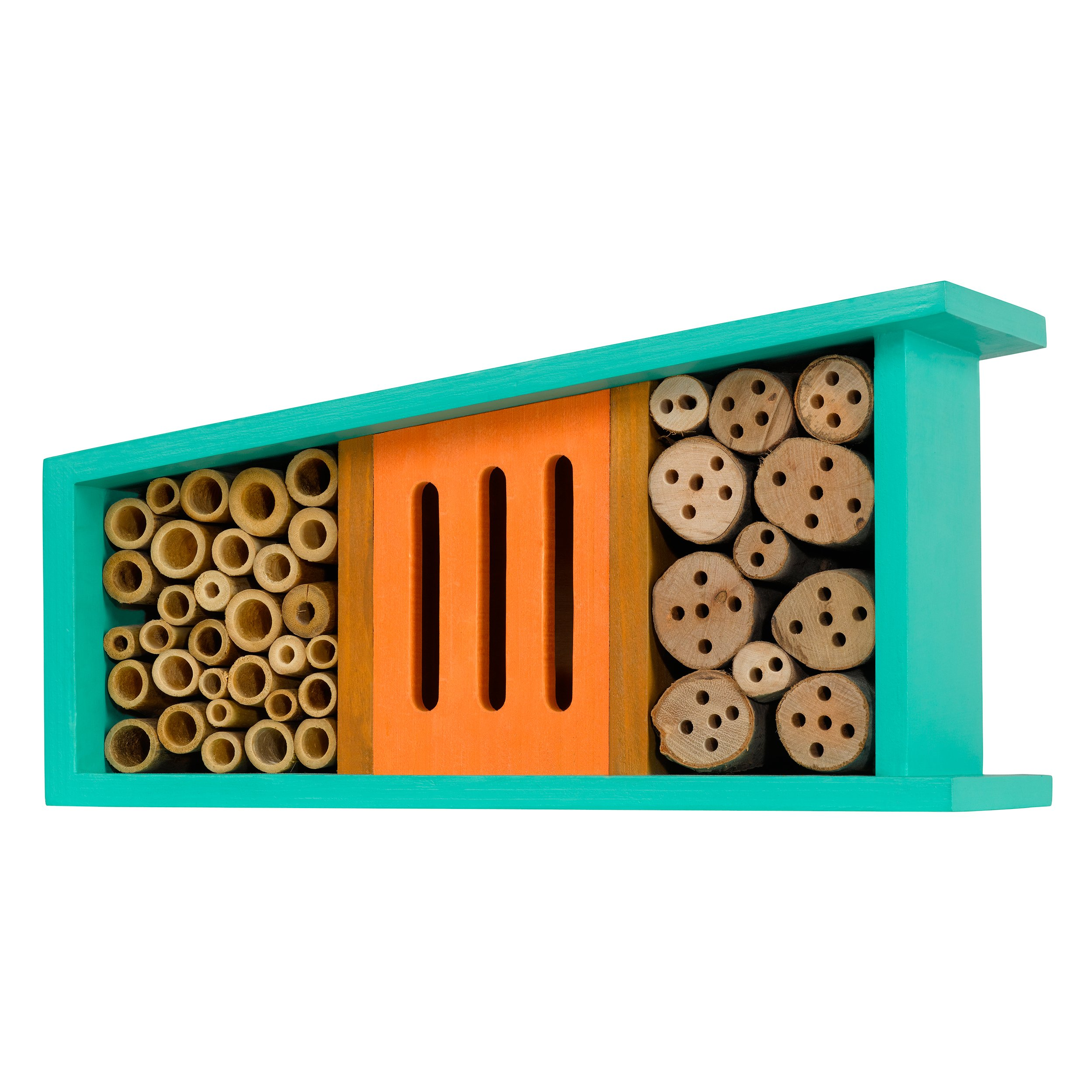Little Thoughtful Gardener Bug Motel Insect House, Turquoise and Orange, Mid Century Modern Design (13''x 5'')