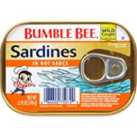 BUMBLE BEE Sardines in Hot Sauce, 3.75 Ounce Can (Pack of 18), Canned Sardines, High Protein Food, Keto Food, Keto…