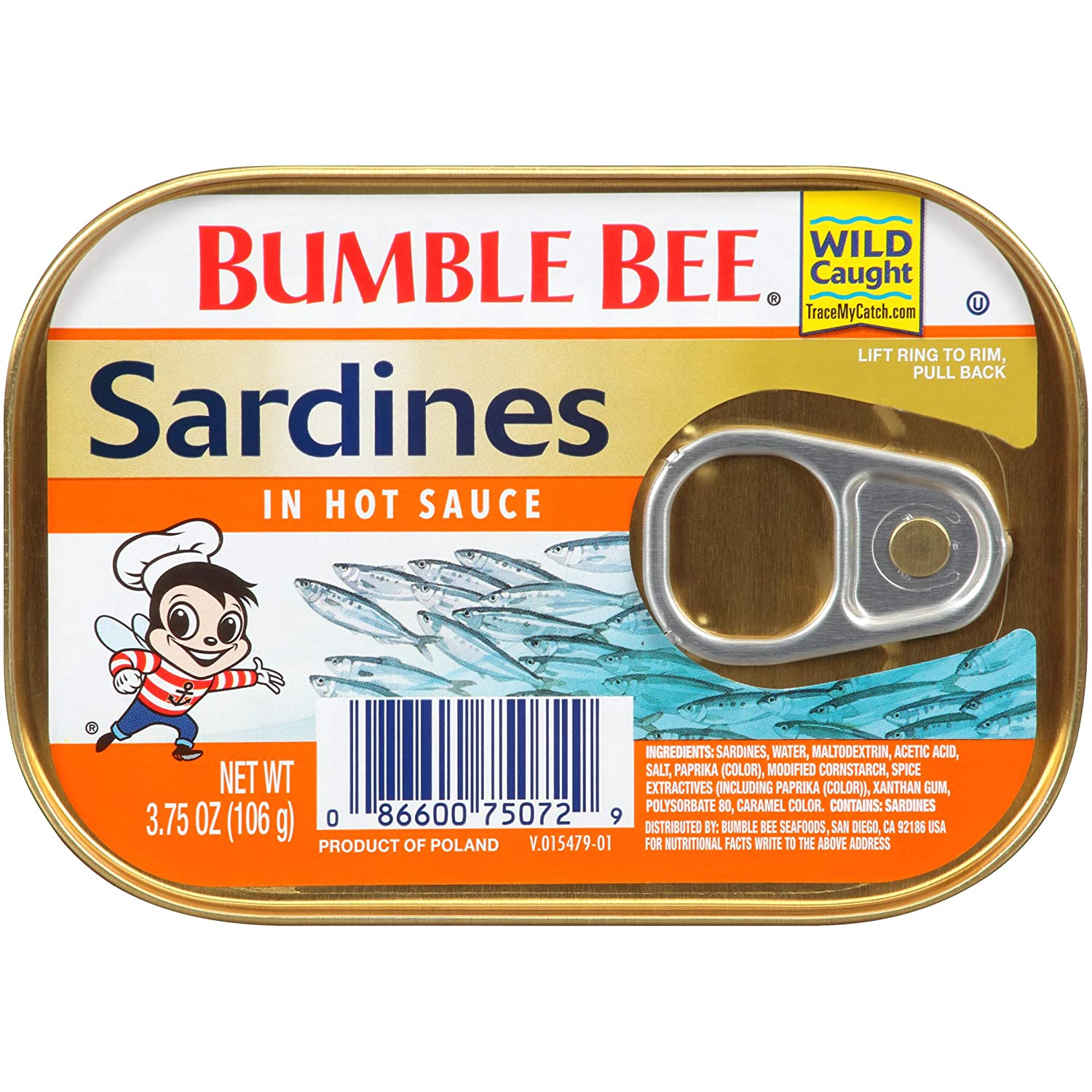 BUMBLE BEE Sardines in Hot Sauce, 3.75 Ounce Can (Pack of 18), Canned Sardines, High Protein Food, Keto Food, Keto Snacks, Gluten Free Food, Canned Food, Low Carb Snacks