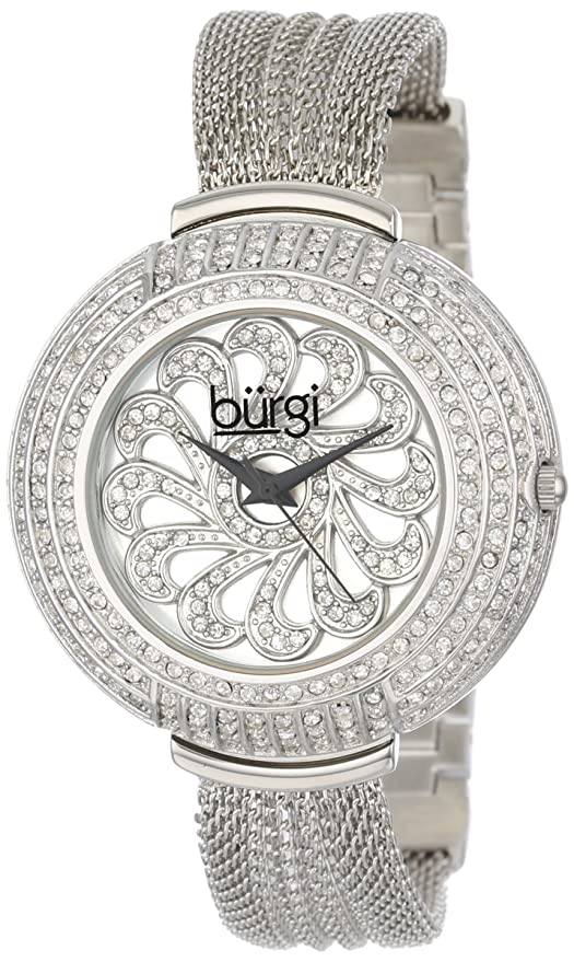 Amazon.com: Burgi Womens BUR051TTG Analog Display Japanese Quartz Silver Watch: Watches