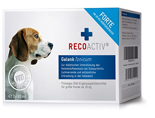 RECOACTIV Gelenk Forte Tonicum für Hunde ab 20 kg - 3 x 90 ml - mit Grünlippmuschel, Weidenrinde, deutsches Erzeugnis