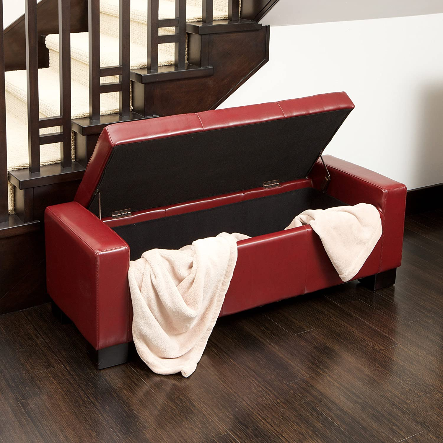Amazoncom Best Selling Guernsey Leather Storage Ottoman Red
