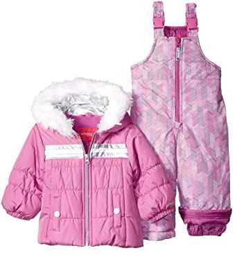 ea121952e Image Unavailable. Image not available for. Color: London Fog Baby Girls  Snowsuit with Snowbib and Puffer Jacket ...